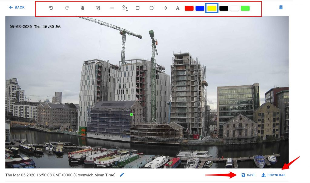 Construction project snapshot from Evercam dashbord