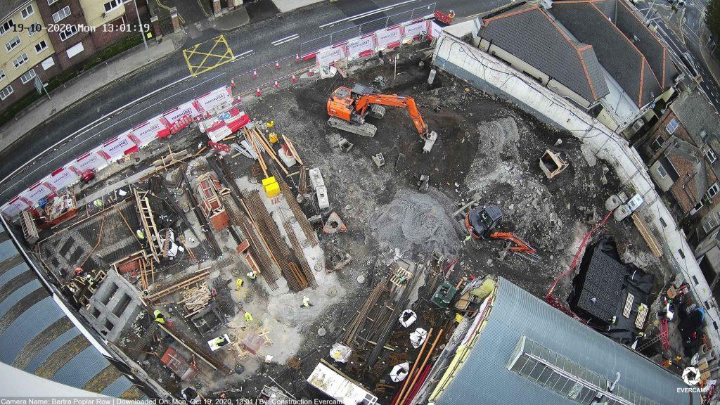 Camera view of the Bartra Poplar Row construction progress