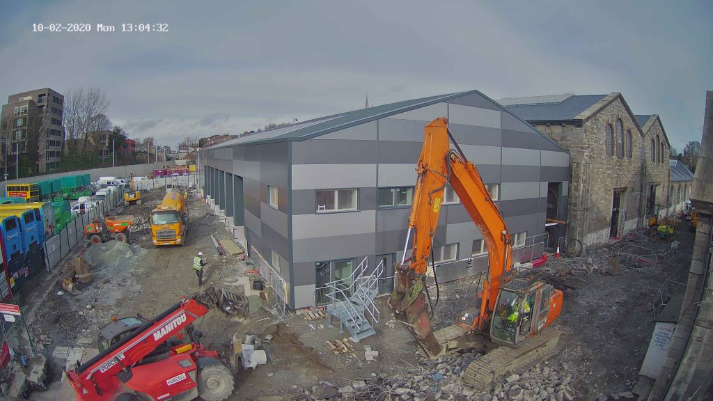 Camera view of construction in final stages