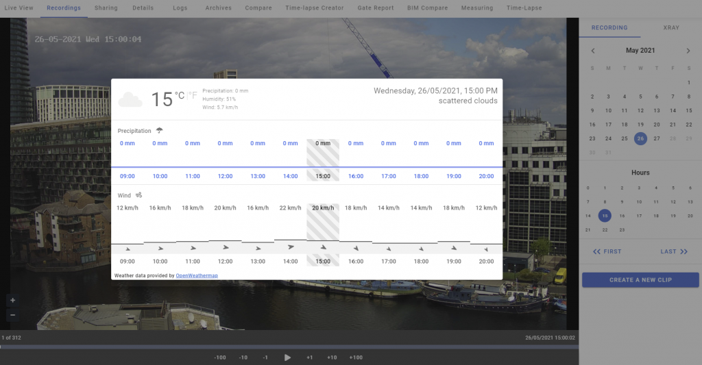 Weather feature view from Evercam dashboard